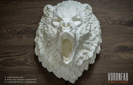 Roaring bear animal head wall sculpture