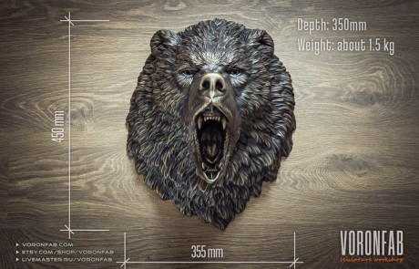Bronze roaring bear animal head wall sculpture size