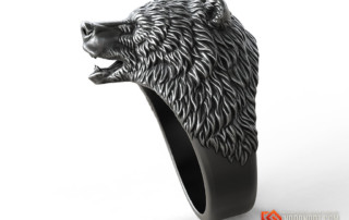 Brown Bear animal head ring jewelry 3d model
