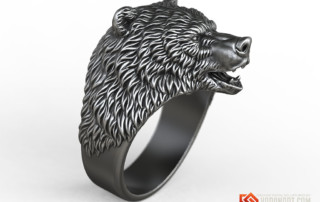 Brown Bear animal ring jewelry 3d model STL file