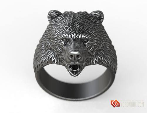 Brown Bear ring animal head jewelry 3d model