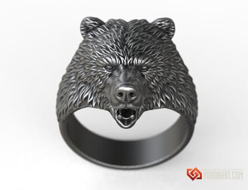 Brown Bear ring animal head jewelry 3d model