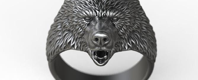 Brown Bear ring animal jewelry 3d model STL file