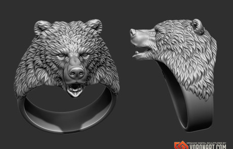 Bear animal head jewelry digital sculpting for 3d printing