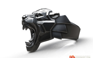 Black Panther roaring leopard ring jewelry 3d model