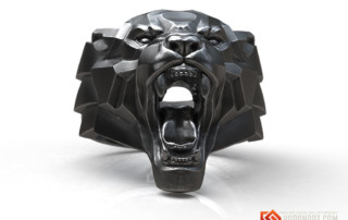 Angry Black Panther animal head ring jewelry silver