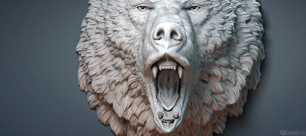Roaring Bear head animal sculpture 3d model