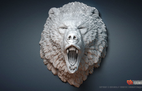 roaring bear wild animal sculpture 3d model