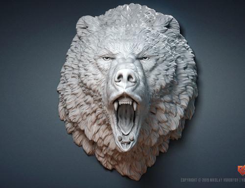 Roaring Bear head animal sculpture