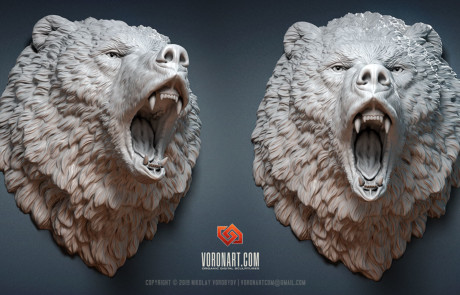 angry brown bear head animal digital sculpting