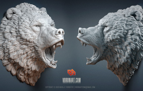 roaring bear grizzly head animal digital sculpture