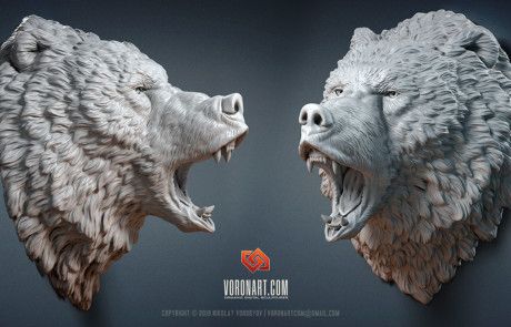 roaring bear sculpture high polygonal 3D model