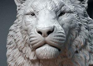 Siberian tiger head animal sculpture 3d model