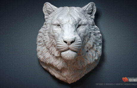 Siberian tiger sculpture high quality 3D model by Voronart