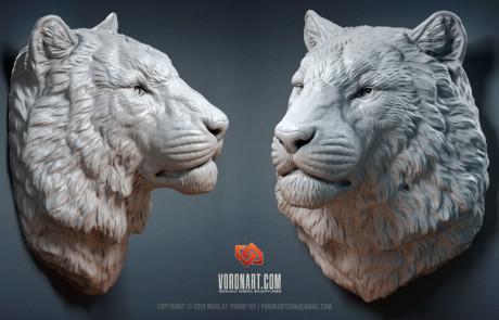 Siberian tiger sculpture high quality 3D model