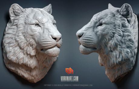 siberian tiger head animal digital sculpture by Voronart