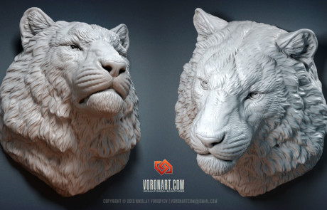 HQ tiger head animal digital sculpting by Voronart