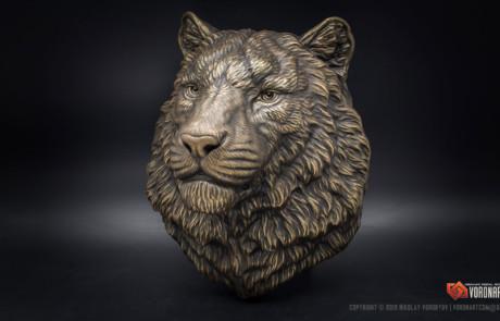 Siberian tiger head bronze animal sculpture by Voronart