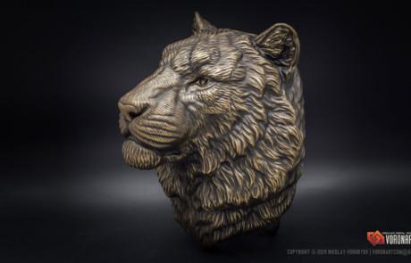 Siberian tiger head bronze wall sculpture by Voronart