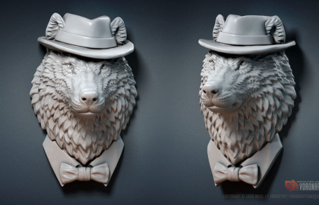 wolf gangster jewelry 3d model digital sculpture