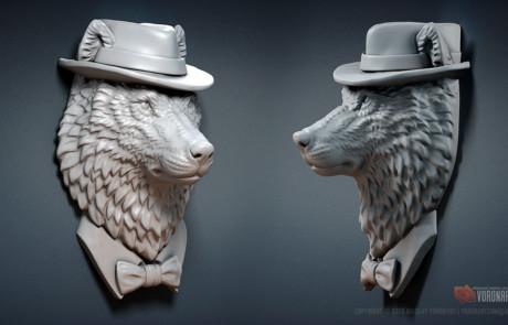 wolf gangster jewelry 3d model STL, OBJ 3dprintable files