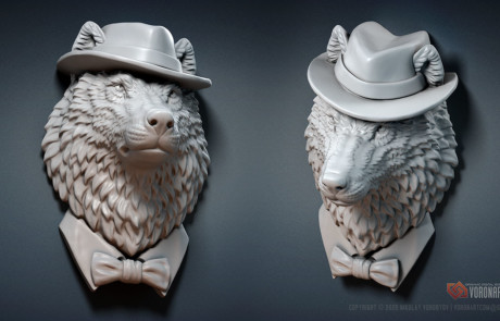 wolf gangster 3d model 3d printable wild animal sculpture