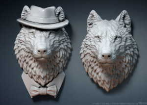 Wolf head sculpture. Jewelry 3d model. three options