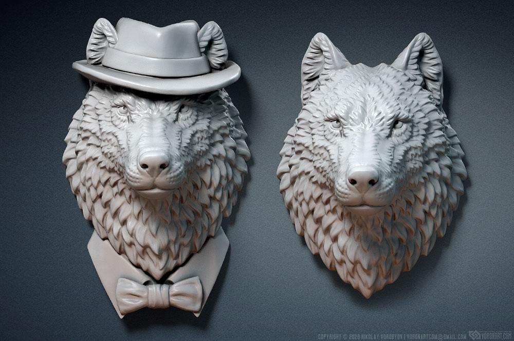 Wolf head sculpture. Jewelry 3d model. three options
