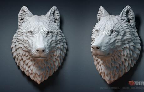 Wolf head Jewelry STL, OBJ 3d printable files. Digital sculpture