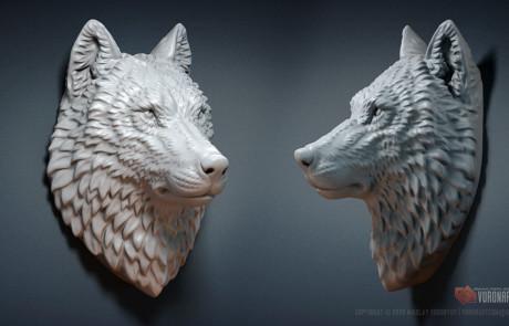 Wolf head Jewelry 3d model. Digital sculpture