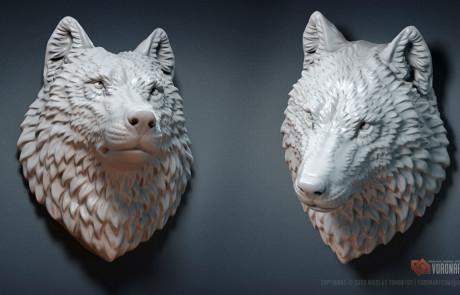Wolf head Jewelry 3d model. Wild animal sculpture