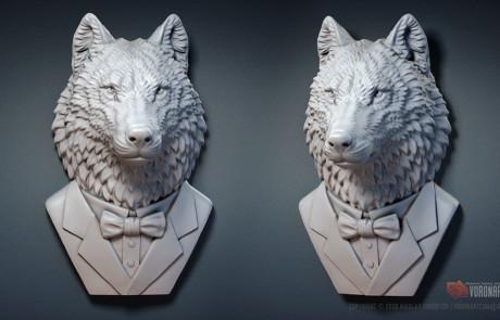 wolf gentleman 3d model STL, OBJ files wild animal sculpture