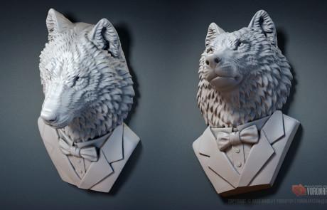 wolf gentleman 3d model wild animal portrait sculpture